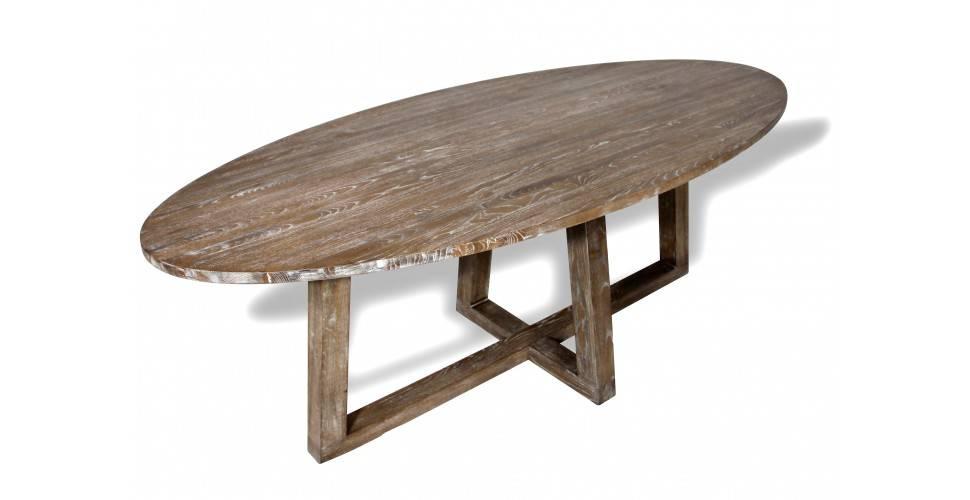 table a manger ovale 6 personnes en bois blond massif de chene blanchi