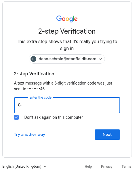 A login showing 2-Fa