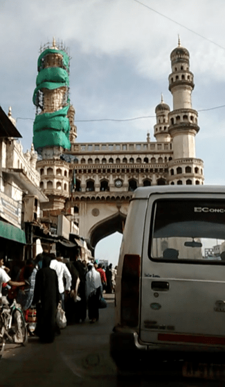 The Charminar is a monument and mosque located in Hyderabad