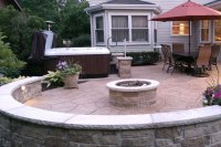 Stamped Concrete Patio and Firepit - Stanley Company