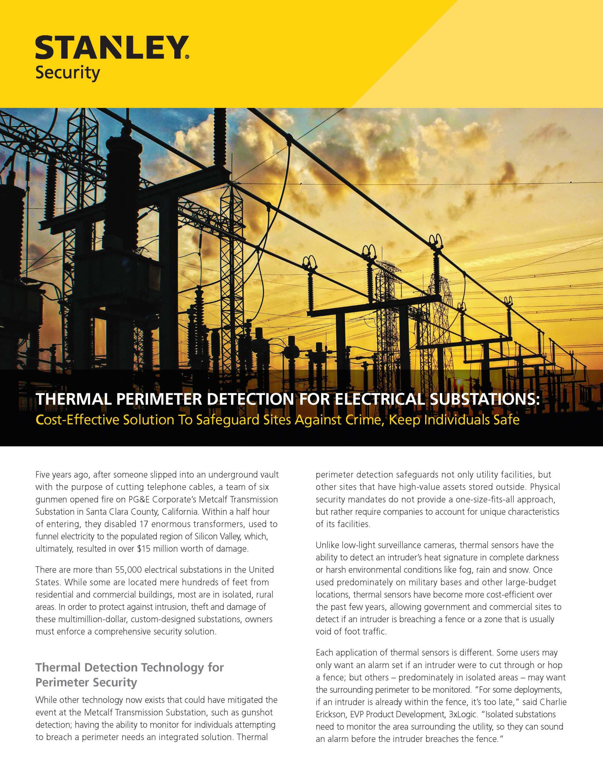 hight resolution of thermal perimeter detection for electrical substations