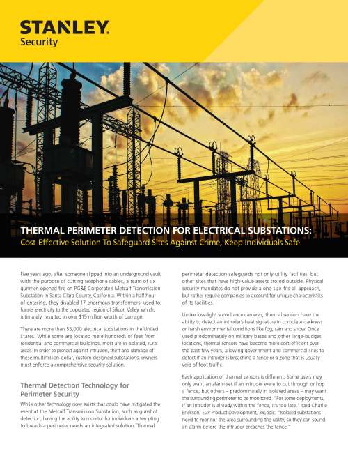 small resolution of thermal perimeter detection for electrical substations