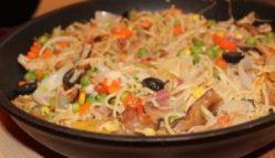 cooking dish on pan