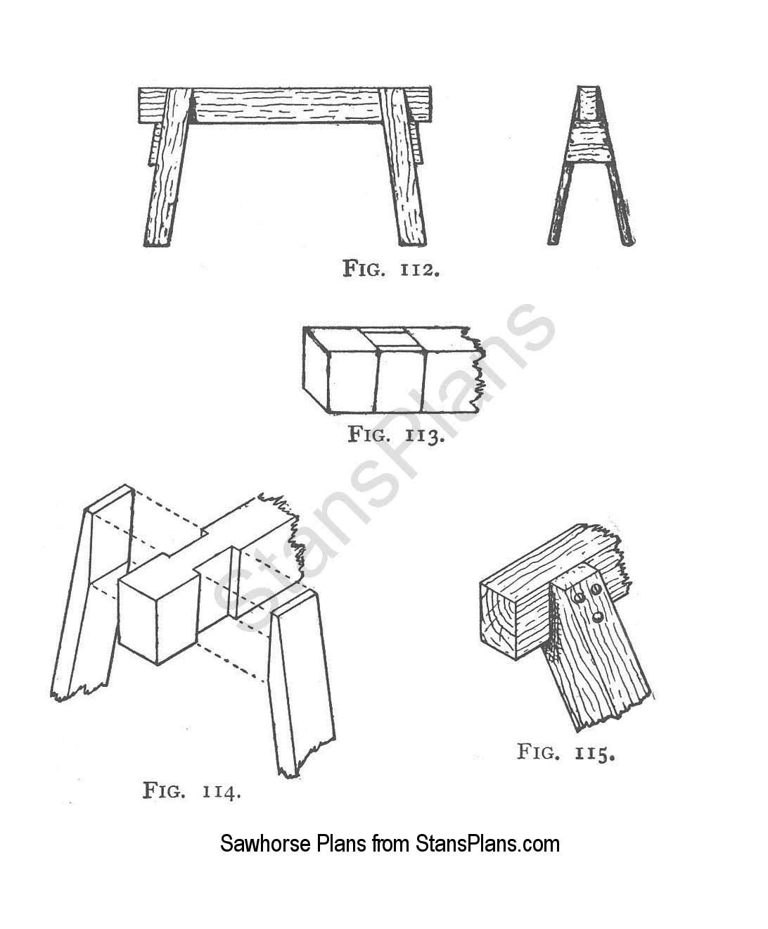 Free Woodworking Plans: Build wooden log saw horse