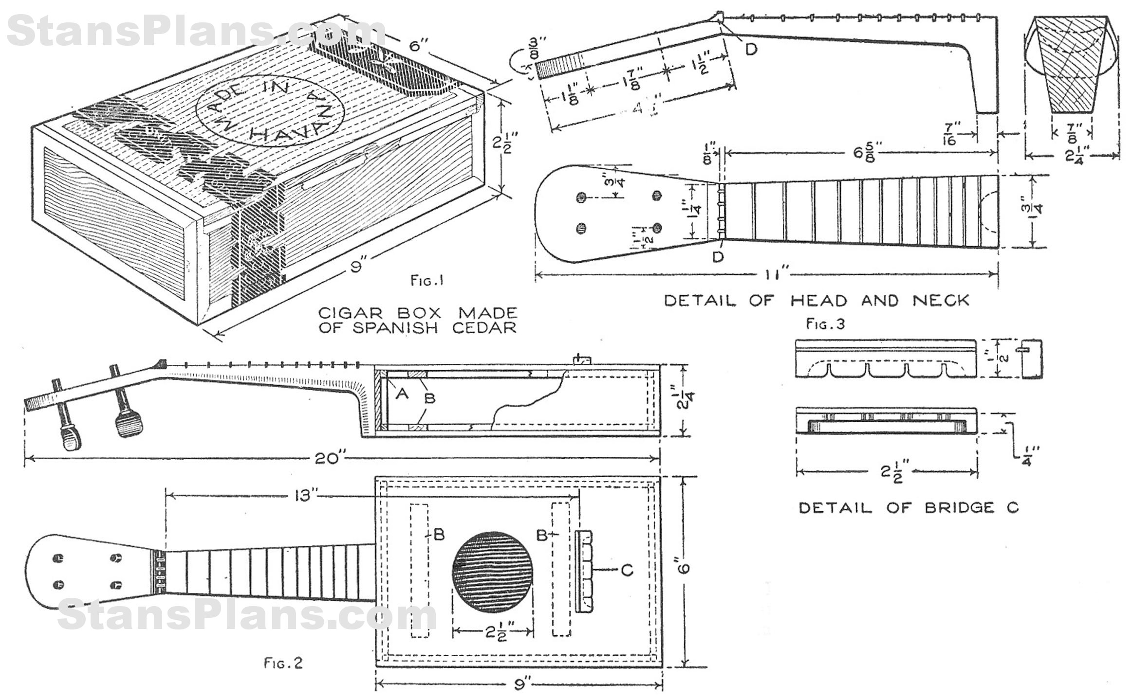 Craftmen: How to build a cigar box guitar plans