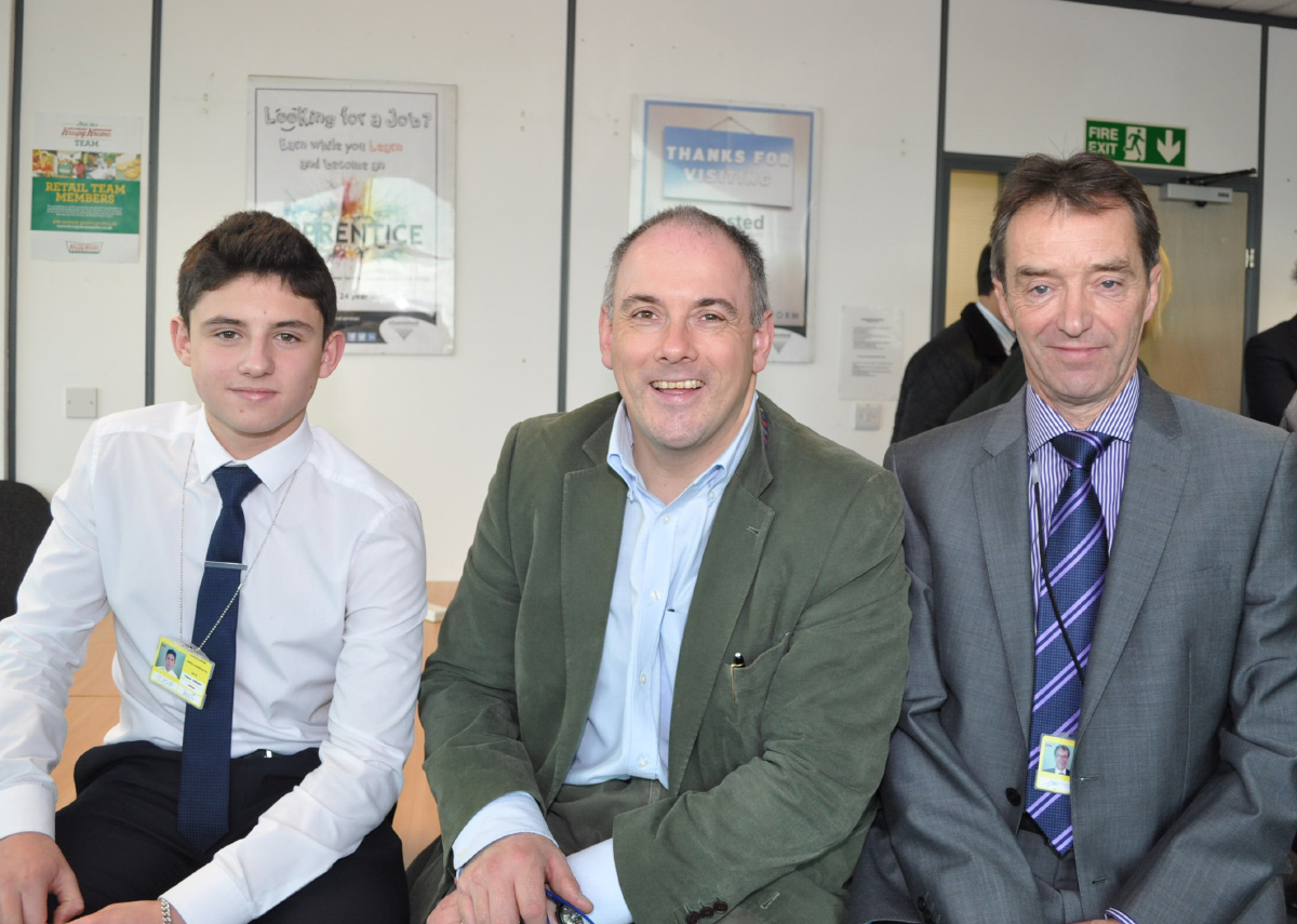 Pictured from left to right: Charlie Douglas, Skills and Apprenticeships Minister Robert Halfon and Terry Farthing, Airport Lettings