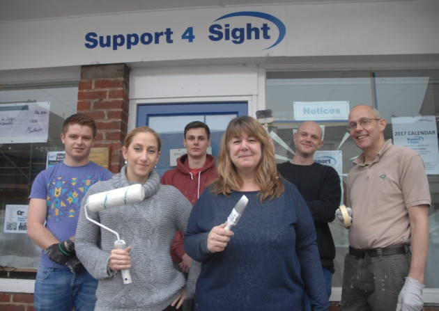 Stansted volunteers help paint offices of sight charity