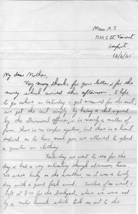 Letters from David James Bridge to mother from school and