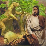 American Jesus sits holding a rifle with giant sloth, giant armadillo, and primitive tree behind him. Pleistocene landscape in the background.