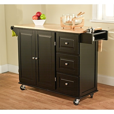 TMS Sundance Wood Kitchen Cart Black  Staples