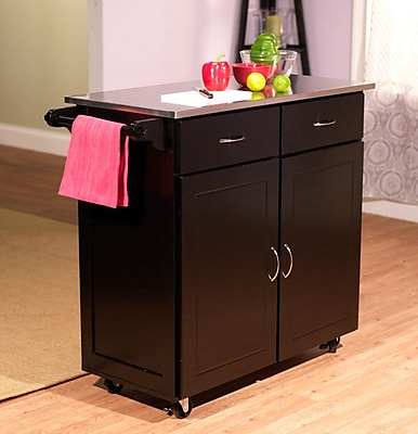 large kitchen cart modern rugs tms with stainless steel top black