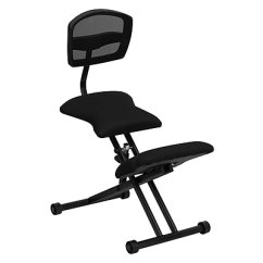 Ergonomic Chair Kneeling Review Tall Dining Table And Chairs Flash Furniture Wl3440 Fabric Armless Black Staples