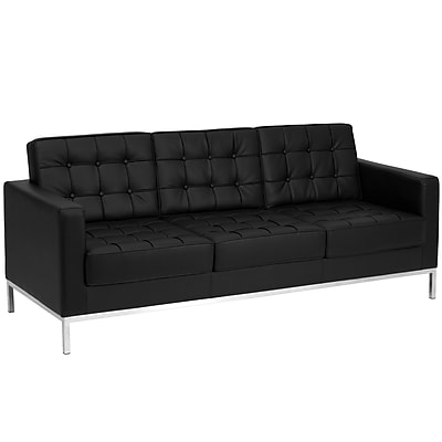 contemporary leather sofa bed chaise melbourne flash furniture hercules lacey series with stainless steel frame black staples