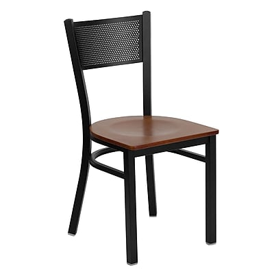 metal restaurant chairs chair rental prices flash furniture hercules series black grid back cherry wood seat 4 pack staples
