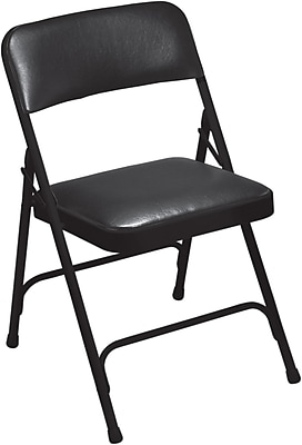 cushioned folding chairs big and tall recliner chair national public seating stacking staples 1200 series steel frame vinyl padded premium black 100
