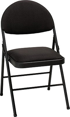 black padded folding chairs leather dining with arms uk cosco xl comfort chair fabric 4 pack times staples