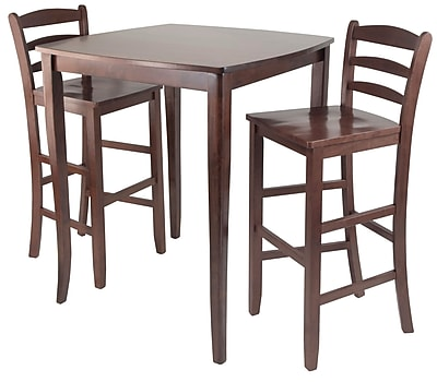 pub kitchen table built in wine rack cabinets winsome 3 piece inglewood high dining antique walnut