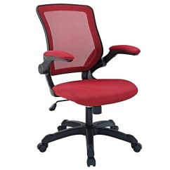 Red Desk Chair Staples Cross Back Dining Chairs Modway Veer Mesh Fabric High Office Executive Adjustable Arms 848387015527