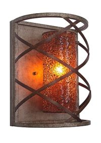 Woodbridge Braid 1 Light Wall Sconce; Amber Mosaic Glass ...