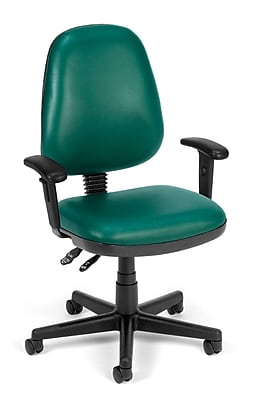 teal computer chair swing london task ofm straton vinyl and desk office adjustable arms 119