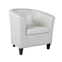 Leather Tub Chair Directors Covers Kmart Corliving Antonio Bonded With Sloping Arms Cream White