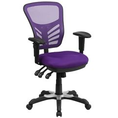 Purple Task Chair White Chairs Wood Table Flash Furniture Mid Back Mesh Swivel With Triple Paddle Control Hl0001pur