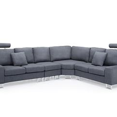 Sectional Sofa Couch Room And Board Leather Review Beliani Stockholm Corner Upholstered Grey Staples