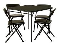 Cosco 5 Piece Folding Table and Chair Set, Black | Staples