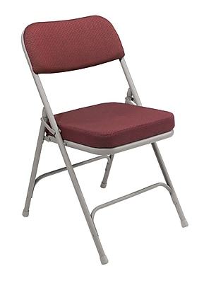 cloth padded folding chairs purple louis ghost chair national public seating 3200 series steel frame 2 fabric burgundy 52 pack 3218