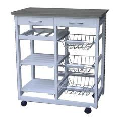 Modern Kitchen Cart Polished Nickel Faucet The Urban Port Trolley With Drawers White C223 123008