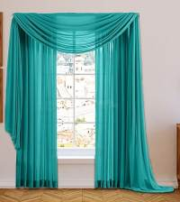 HLC.ME Sheer Voile Window Scarf Curtain Valance; Gray Teal ...