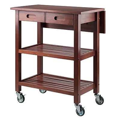 drop leaf kitchen cart cushions for chairs winsome jonathan in walnut 94734 staples