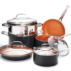 Kitchen Pan Set Refinish Cabinets Gotham Steel Non Stick Fry 10 Piece Cookware Copper Brown