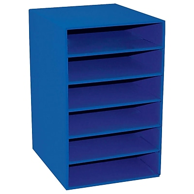 classroom organizer chair covers black lycra storage lockers staples pacon keepers blue shelf with 6 slots pac001312