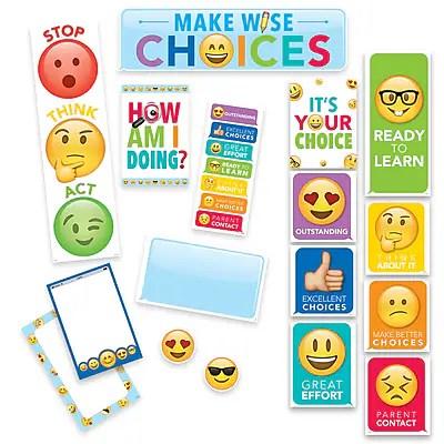 Creative teaching press emoji fun behavior clip chart mini bulletin board set https staples   is also rh