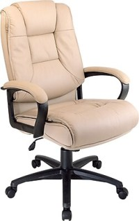 Office Star Leather Executive Office Chair, Tan, Fixed ...