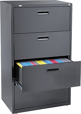 Staples 4Drawer 30W Lateral File Cabinet Black Letter