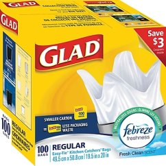 Glad Kitchen Bags Air Vent For Sink Catchers Garbage With Febreze Regular 100 Pack Cl30220