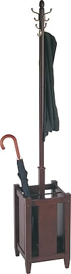 Office Star Espresso Wood Coat Tree with Umbrella Stand ...