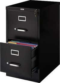 Staples 2-Drawer Letter Size Vertical File Cabinet, Black ...