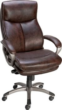 Staples Eckert Bonded Leather Mid-Back Office Chair, Brown ...