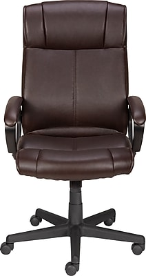 staples turcotte chair brown metal frame leather west elm luxura high back executive