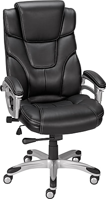 staples ergonomic mesh executive chair with headrest faux fur bean bag chairs baird bonded leather managers black https www 3p com s7 is