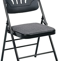Folding Chair Fabric Inexpensive Covers For Weddings Cosco Bridgeport Fanfare Padded Seat Deluxe Molded Back Kinnear Black Staples