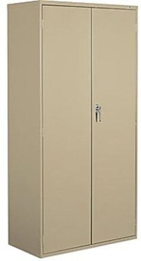 "Staples 72"" Locking Steel Storage Cabinet, Sand | Staples"
