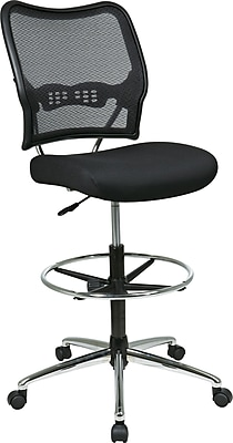 drafting chairs staples home theatre perth office star 13 37p500d space seating mesh armless back fabric air grid deluxe chair with chrome base black seat