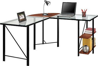 Altra Furniture Aden Corner Glass Computer Desk  Staples