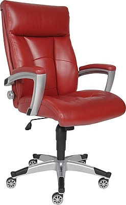 chair 1 2 patio cushions sealy roma leather executive office fixed arms red 9843g staples