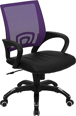 lilac office chair beach style kitchen table and chairs flash furniture leathersoft leather computer desk fixed arms purple black cpb176a01pur staples