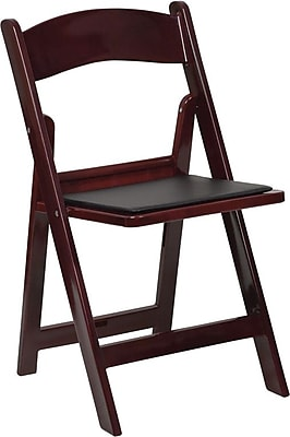 armless folding chair wedding covers for bride and groom flash furniture hercules series 1000 lb capacity resin with black vinyl seat red mahogany 20 pack staples